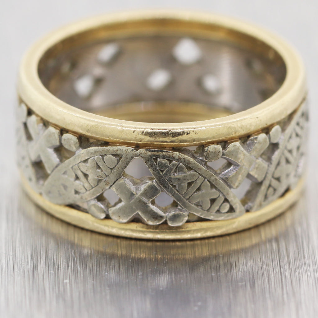 1930's Antique Art Deco 14k White & Yellow Gold Filigree Band Ring