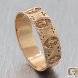 1880s Antique Victorian Wide Wedding Band Baby Ring