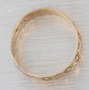 1880s Antique Victorian 9ct Yellow Gold Wide Wedding Band Baby Ring F8