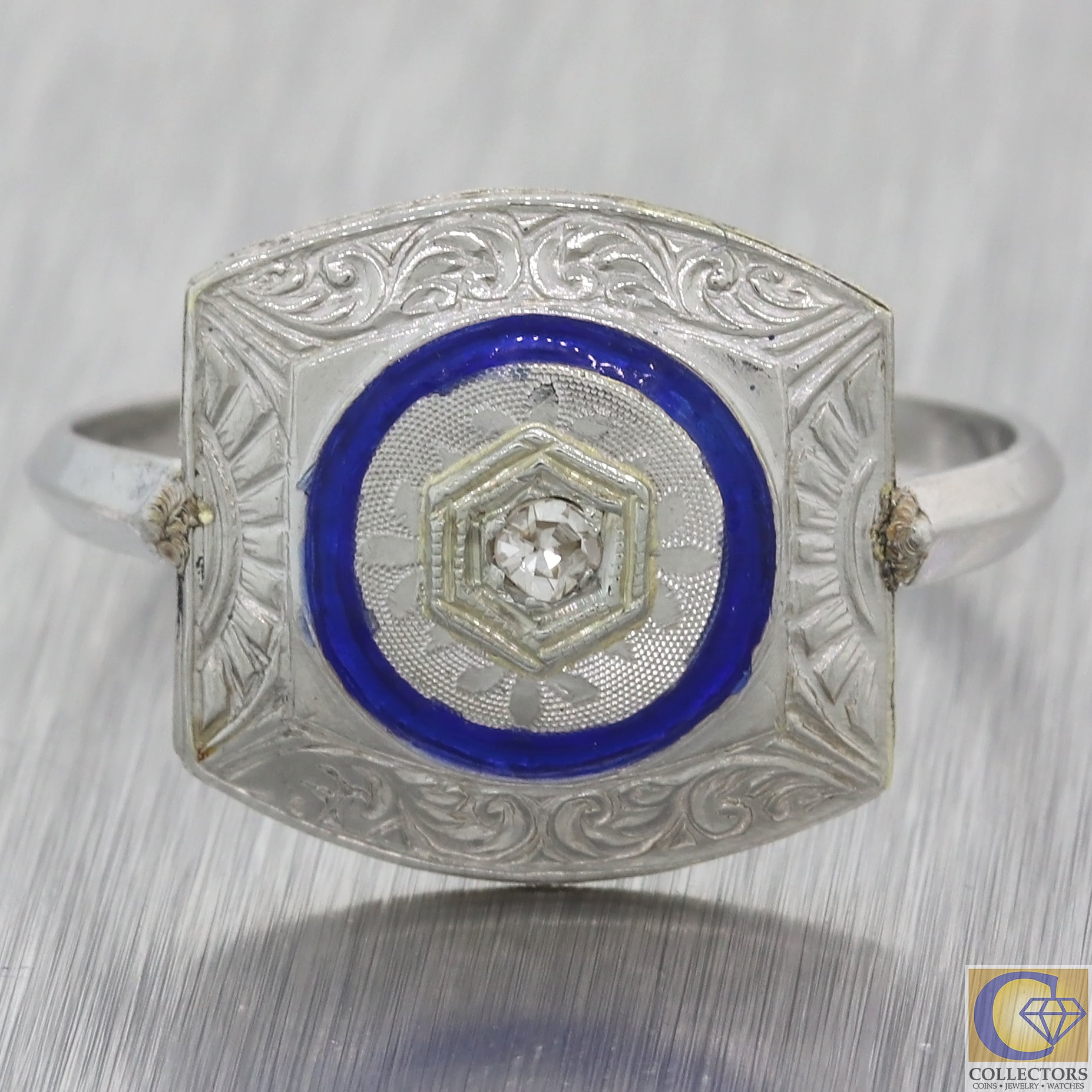 1920s Antique Art Deco Platinum Diamond Blue Enamel Wide Ring