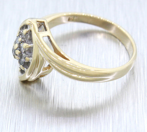 Vintage Estate 14k Solid Yellow Gold 0.20ctw Diamond JS Marquise Ring