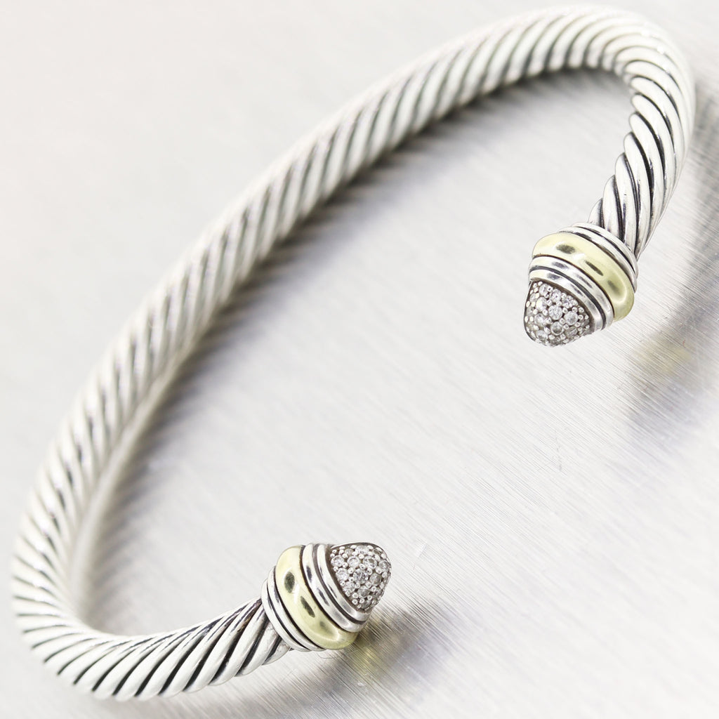 David Yurman Sterling Silver & 14k Yellow Gold 0.20ctw Diamond Cable Classics Br