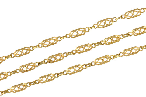 "Women's Italian 18K 750 Yellow Gold Filigree Plaque 35.50"" Chain Necklace 16.7g"