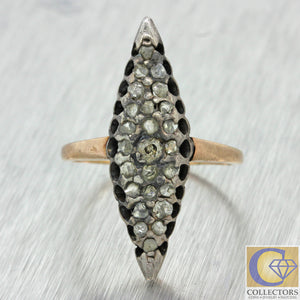 1830s Antique Georgian Victorian Silver 18k Rose Gold Rose Diamond Navette Ring
