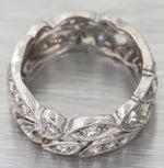 1930s Antique Art Deco Filigree Platinum .50ctw Diamond 7mm Wide Band Ring S8