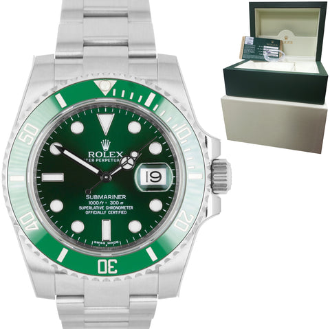 NEW STICKERED Rolex Submariner Date Hulk 116610 LV Green Ceramic 40mm Dive Watch