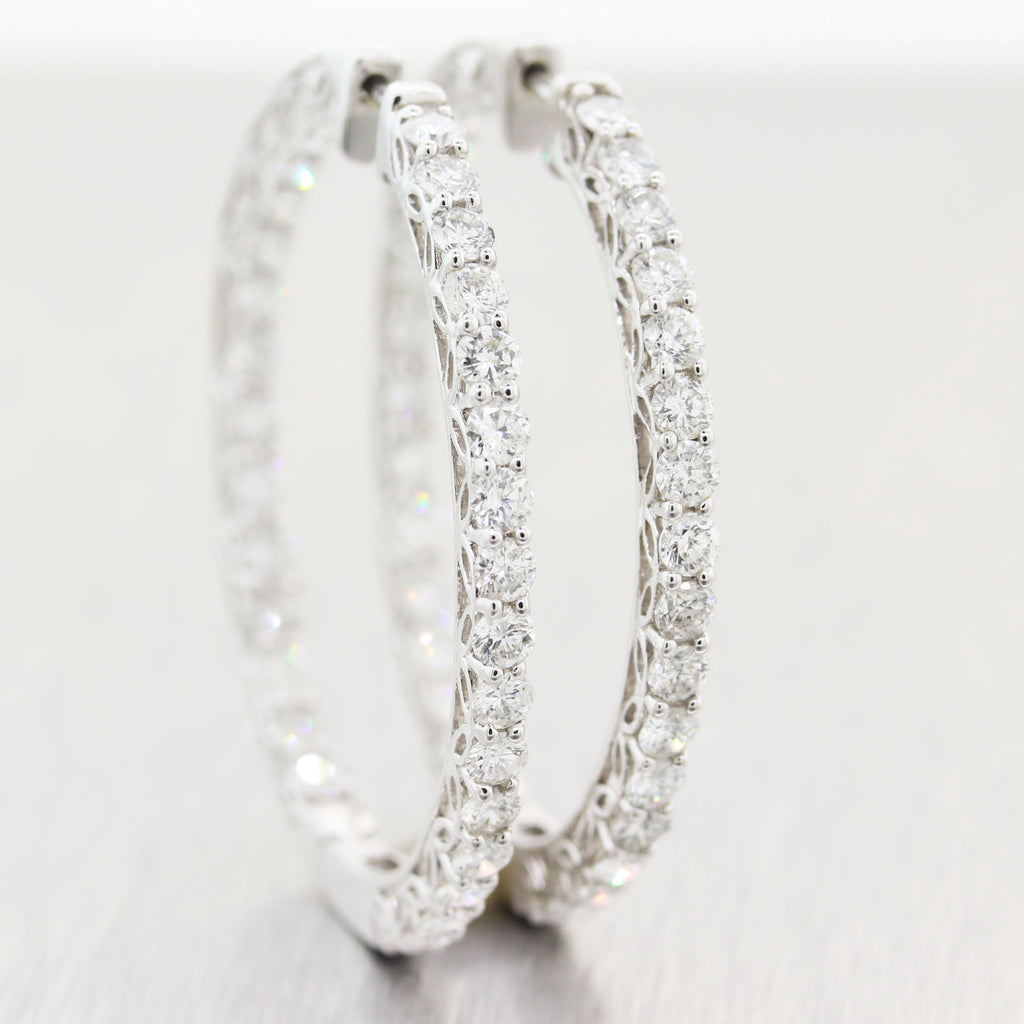Modern 14k White Gold In & Out 5ctw Diamond Hoop Earrings