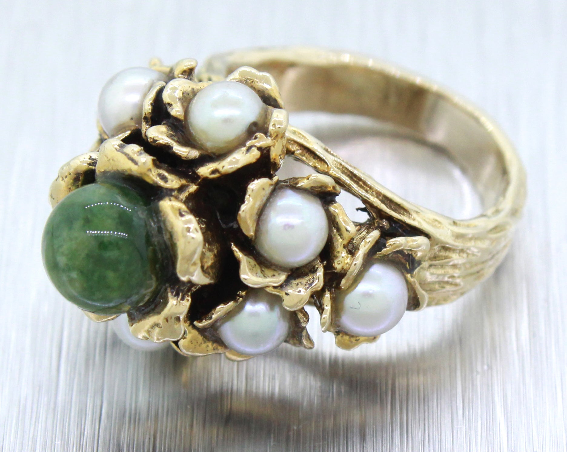 Vintage Estate 14k Solid Yellow Gold 2ct Olivine & Pearl Cocktail Ring