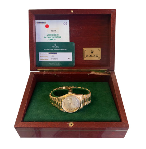 1999 FULL SET Rolex Diamond Day-Date President 36mm 18K Yellow Gold Watch 18238