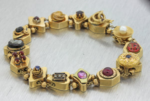 1880s Antique Victorian Estate 14k Yellow Gold Pearl Ruby Enamel Charm Bracelet