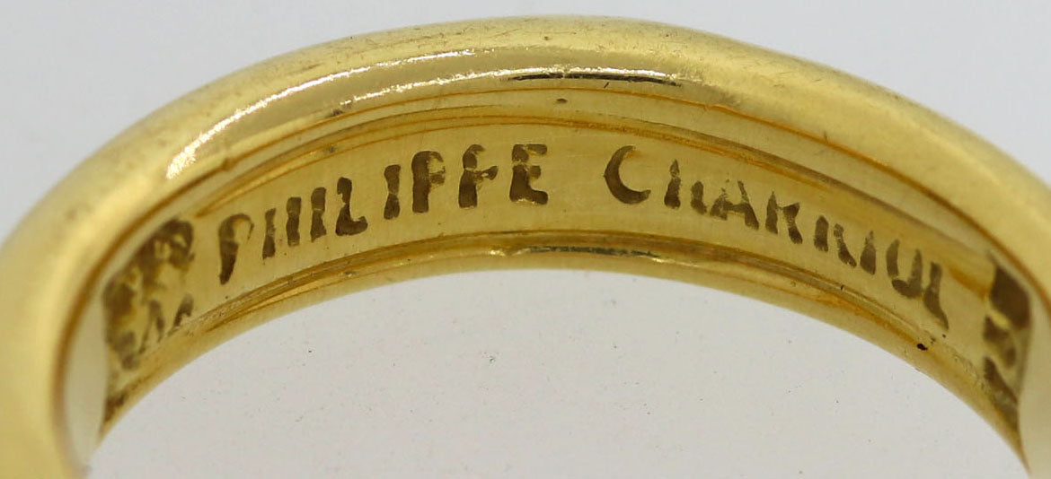 Philippe Charriol 18k Yellow Gold Metro Steel 3mm Wedding Band Ring US 3.25 S8