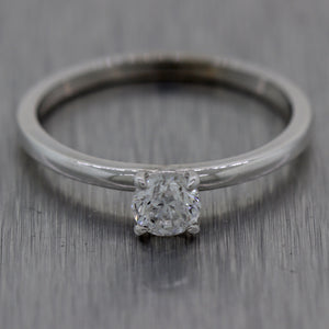 Modern 14k White Gold 0.33ct Round Brilliant Cut Diamond Engagement Ring