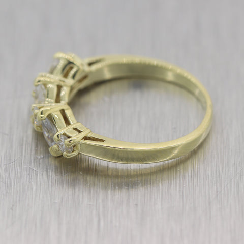 Vintage Estate 14k Yellow Gold Marquise & Round Cut 0.50ctw Diamond Band Ring