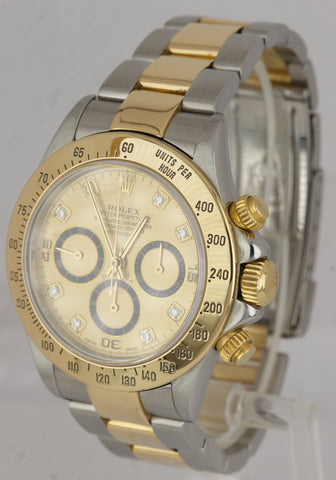 2000 Rolex Daytona Zenith 40mm INVERTED 6 SIX Diamond Two-Tone Watch 16523 A