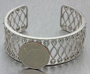 1970s Vintage Estate 14k Solid White Gold .60ctw Diamond Filigree Cuff Bracelet