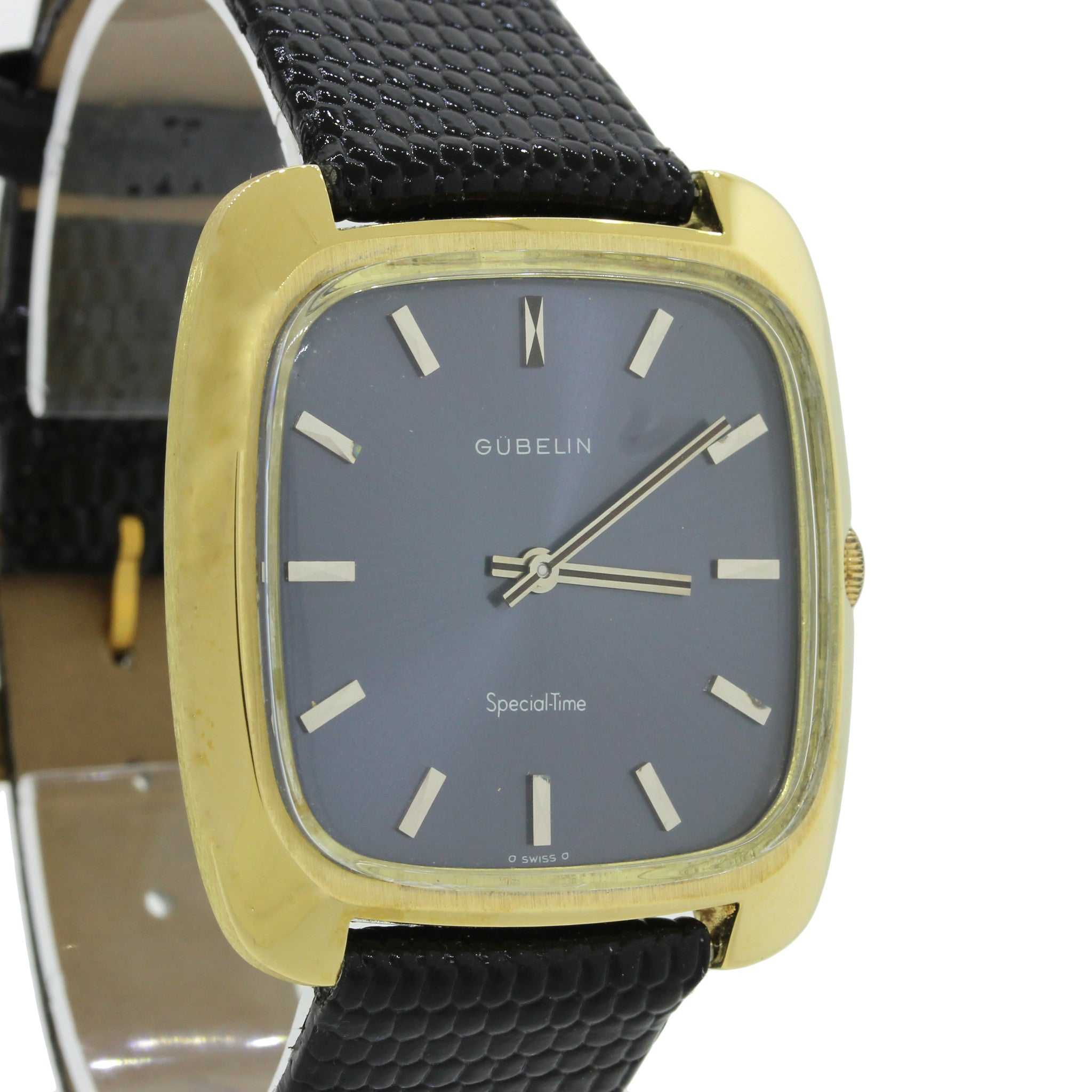 Vintage Men's Gubelin Special-Time 18K Yellow Gold Blue Swiss Mechanical Watch