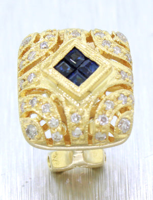 Vintage 18k Solid Yellow Gold 0.50ctw Sapphire and Diamond Huggie Earrings