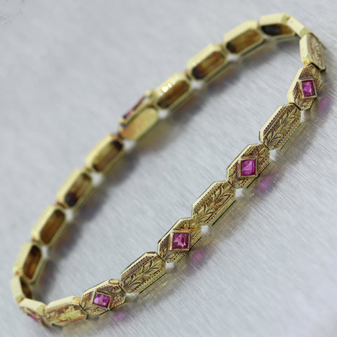 1890's Antique Victorian 14k Yellow Gold 0.50ctw Synthetic Pink Sapphire Bracele