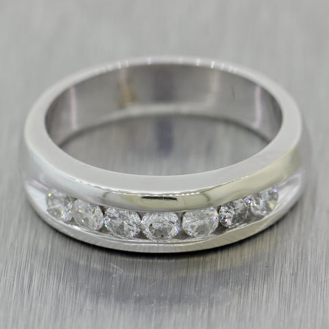 Men's 14k White Gold 0.70ctw Diamond Wedding Band Ring