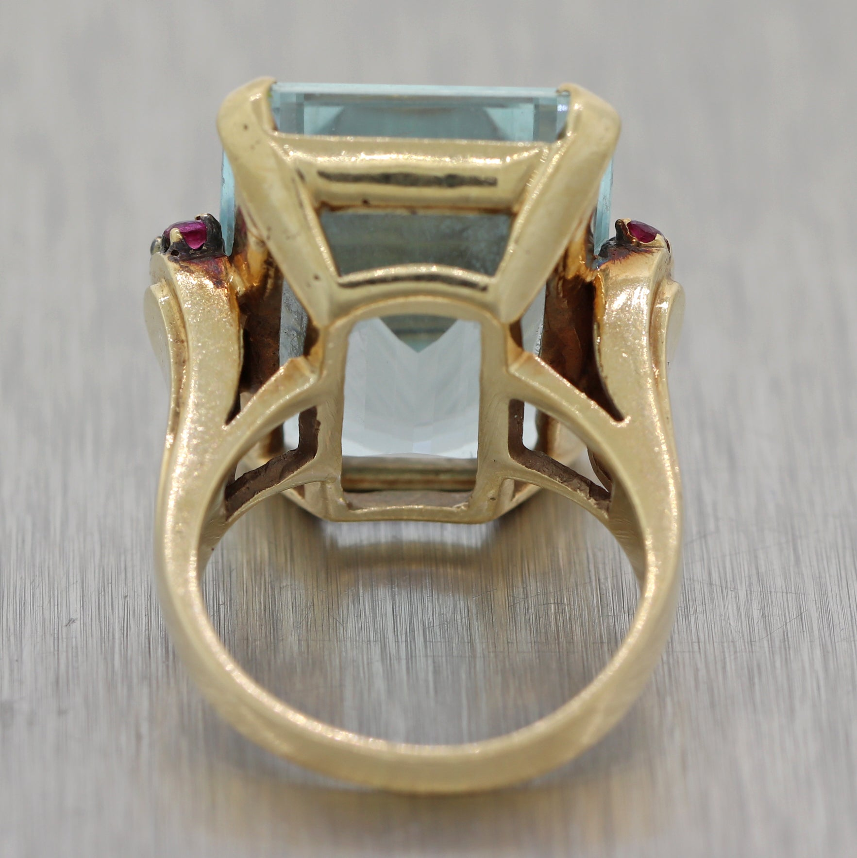 1940's Vintage Estate 14k Yellow Gold 25ct Aquamarine & Ruby Cocktail Ring