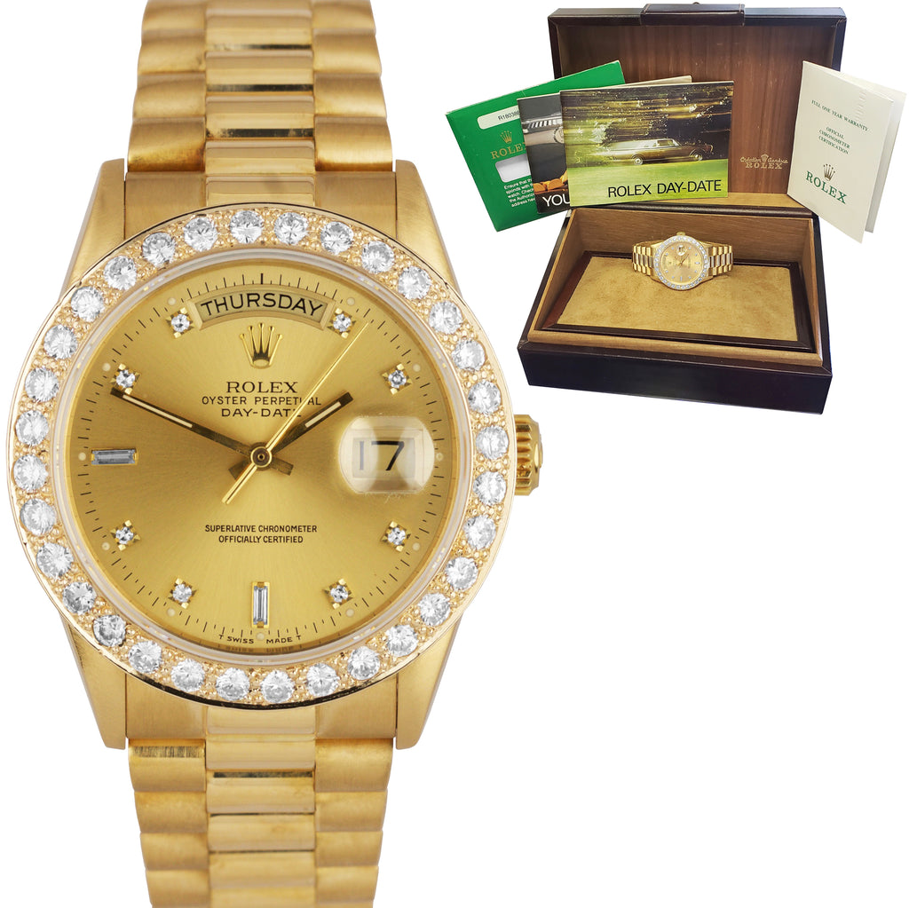 Factory Diamond Rolex Day-Date President 36mm Quickset 18K YG Gold Watch 18038
