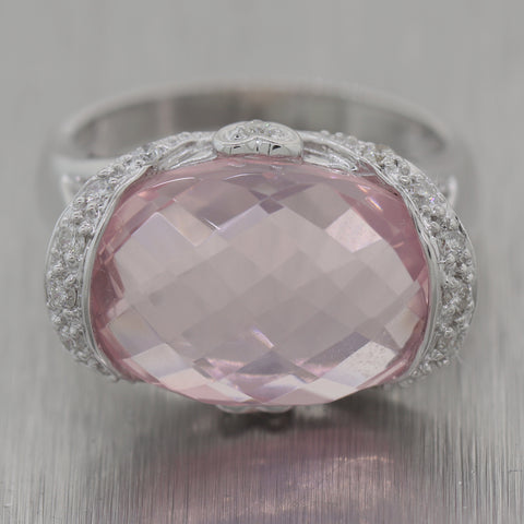 Vintage Estate 18k White Gold Rose Quartz & 0.30ctw Diamond Ring