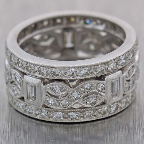 1930s Antique Art Deco Platinum 2.50ctw Diamond 10mm Wide Wedding Band Ring