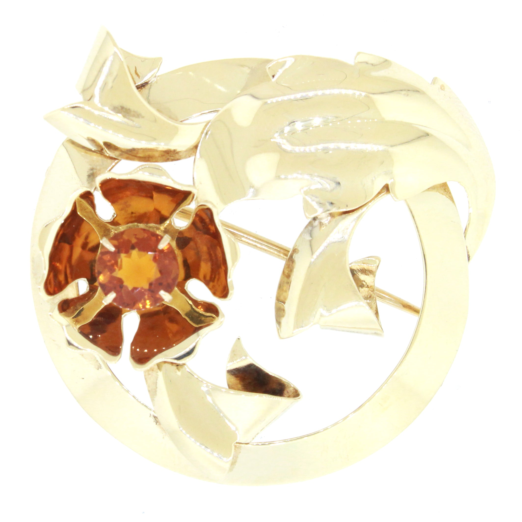 Vintage Estate Tiffany & Co. 14k Solid Yellow Gold 1ct Citrine Flower Brooch Pin