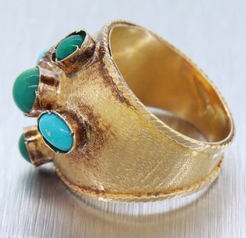 Vintage Estate 18k Solid Yellow Gold 4ctw Turquoise Thick Band Ring