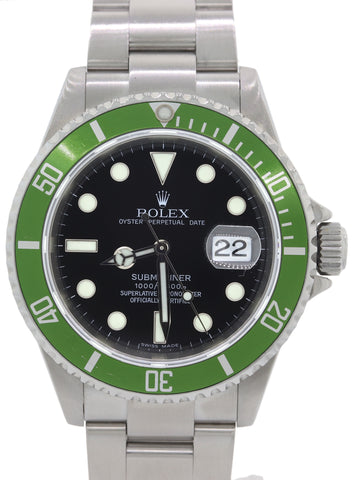 2017 Rolex Service Submariner Anniversary Kermit Green 16610 LV Z Dive Watch M8