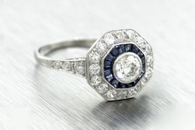 Ladies Antique Art Deco 1.03ctw Diamond Sapphire Platinum Engagement Ring EGL