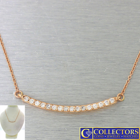 Modern Estate 14k Rose Gold .27ctw I/SI1 Diamond Bar Chain Necklace G8