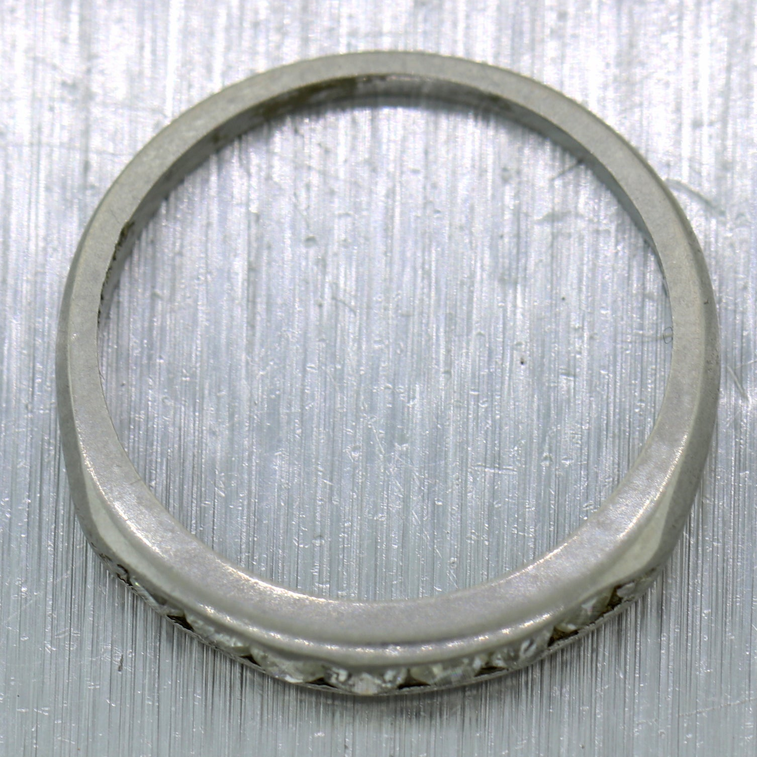 1930's Antique Art Deco Platinum 0.28ctw Diamond Wedding Band Ring