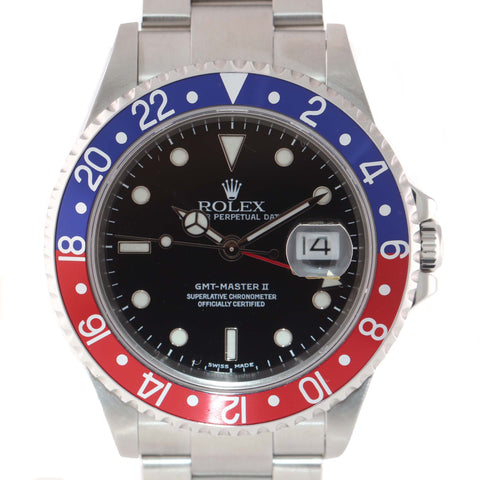MINT Rolex GMT-Master 2 Pepsi Steel 16710 Z serial 40mm Watch SEL No Holes Watch