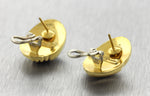 Ladies Italian Vintage Estate 18K Yellow Gold Oval Textured Stud Earrings