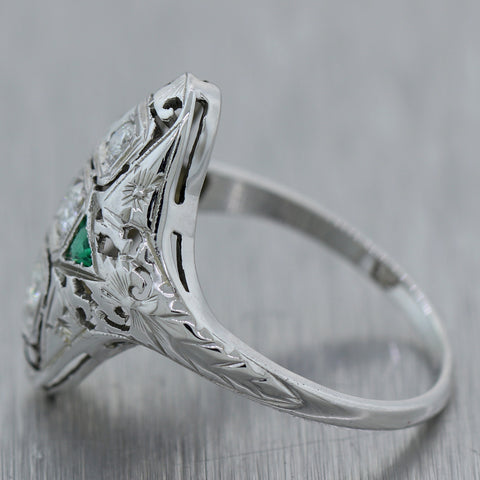 1930's Antique Art Deco 18k White Gold 0.40ctw Diamond & Emerald Cocktail Ring