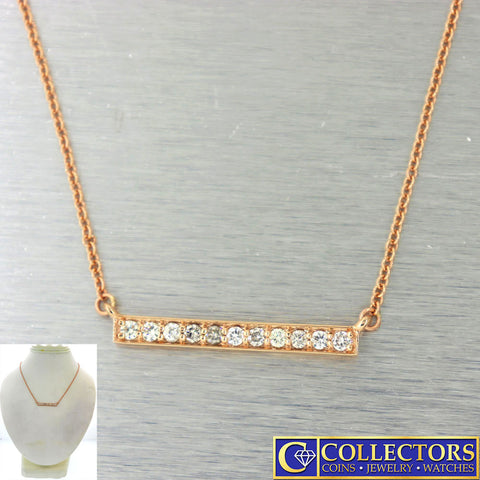 Modern Estate 14k Rose Gold .40ctw I/SI1 Diamond Bar Chain Necklace G8