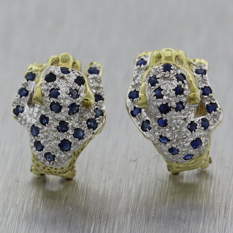 Vintage Estate 14k Yellow Gold 1.05ctw Sapphire & Diamond Cougar Tiger Earrings