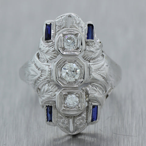 1920's Antique Art Deco 18k White Gold 0.60ctw Diamond & Sapphire Cocktail Ring