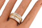 Lovely Ladies 14K Yellow Gold 0.68ctw Baguette Cut Diamond Braided Cocktail Ring