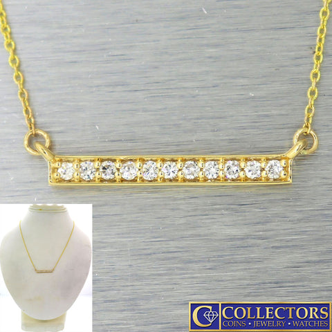 Modern Estate 14k Yellow Gold .22ctw I/SI1 Diamond Bar Chain Necklace G8