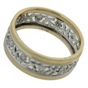 1930s Antique Art Deco 14k Yellow White Gold 7mm Wide Floral Band Ring