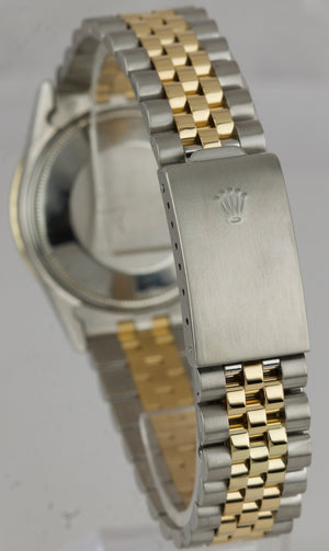 Rolex Date 34mm Two-Tone Stainless Steel Gold Diamond Bezel Watch DateJust 15053