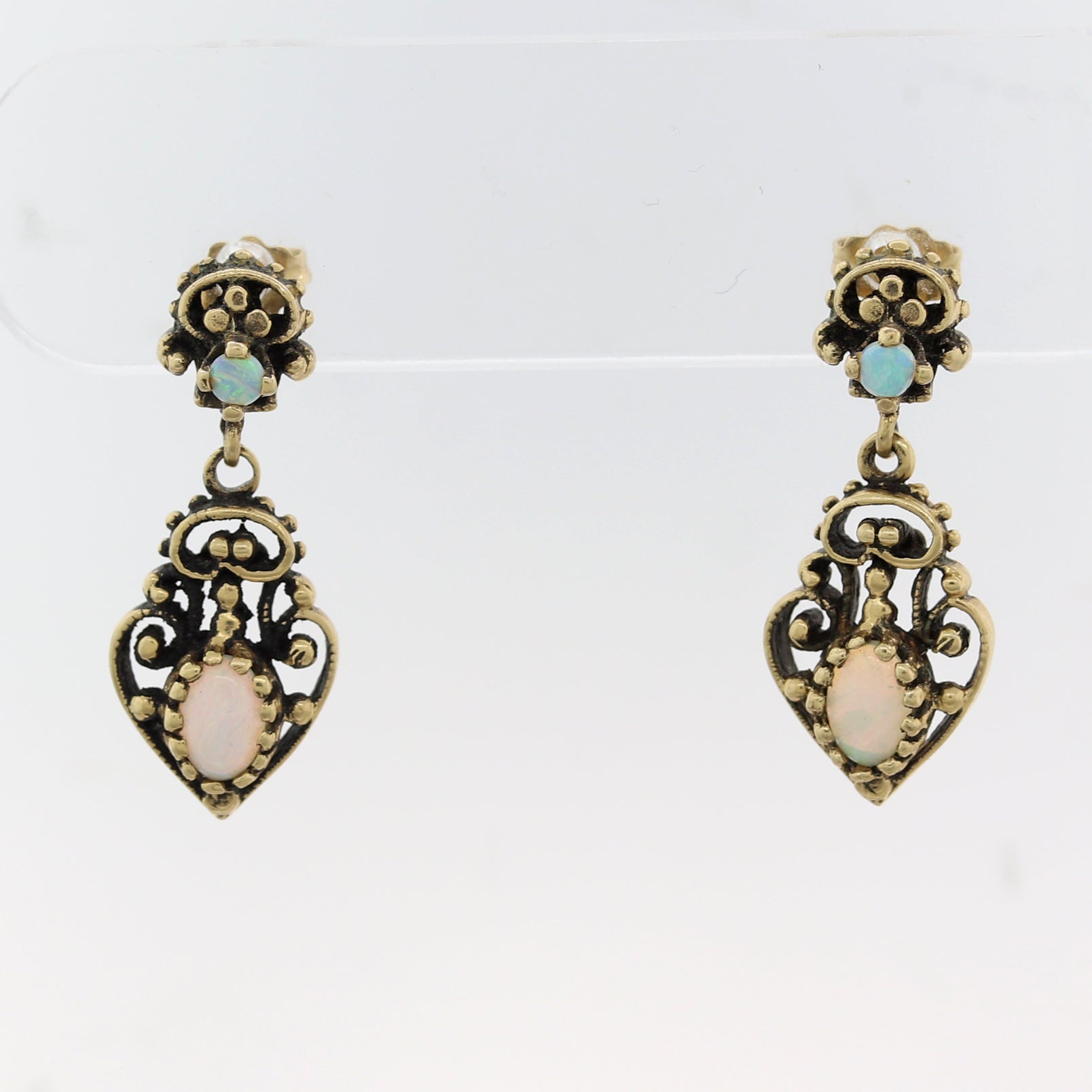 1890's Antique Victorian 14k Yellow Gold Opal Dangle Earrings
