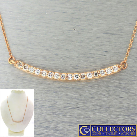 Modern Estate 14k Rose Gold .43ctw I/SI1 Diamond Bar Chain Necklace G8