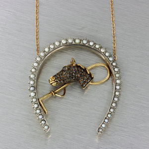 1880s Antique Victorian 14k Gold Platinum Diamond Pearl Horse Pendant Necklace
