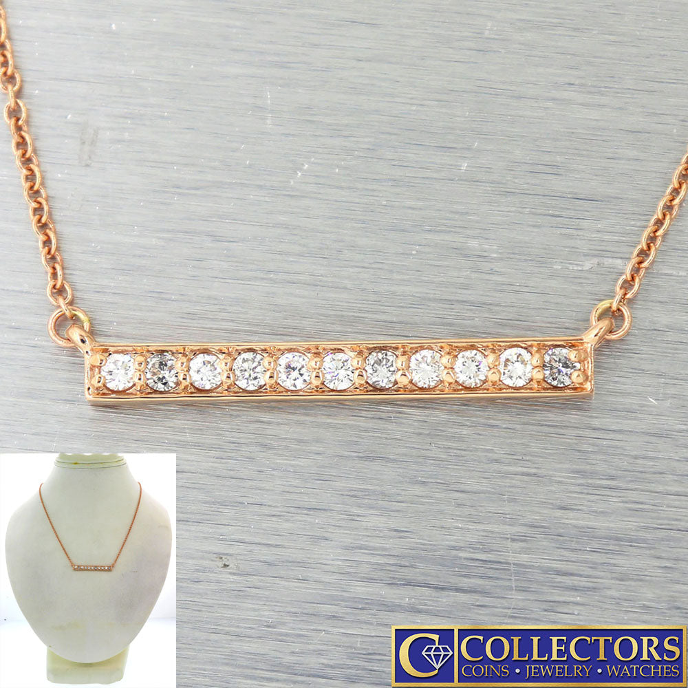 Modern Estate 14k Rose Gold .50ctw I/SI1 Diamond Bar Chain Necklace G8