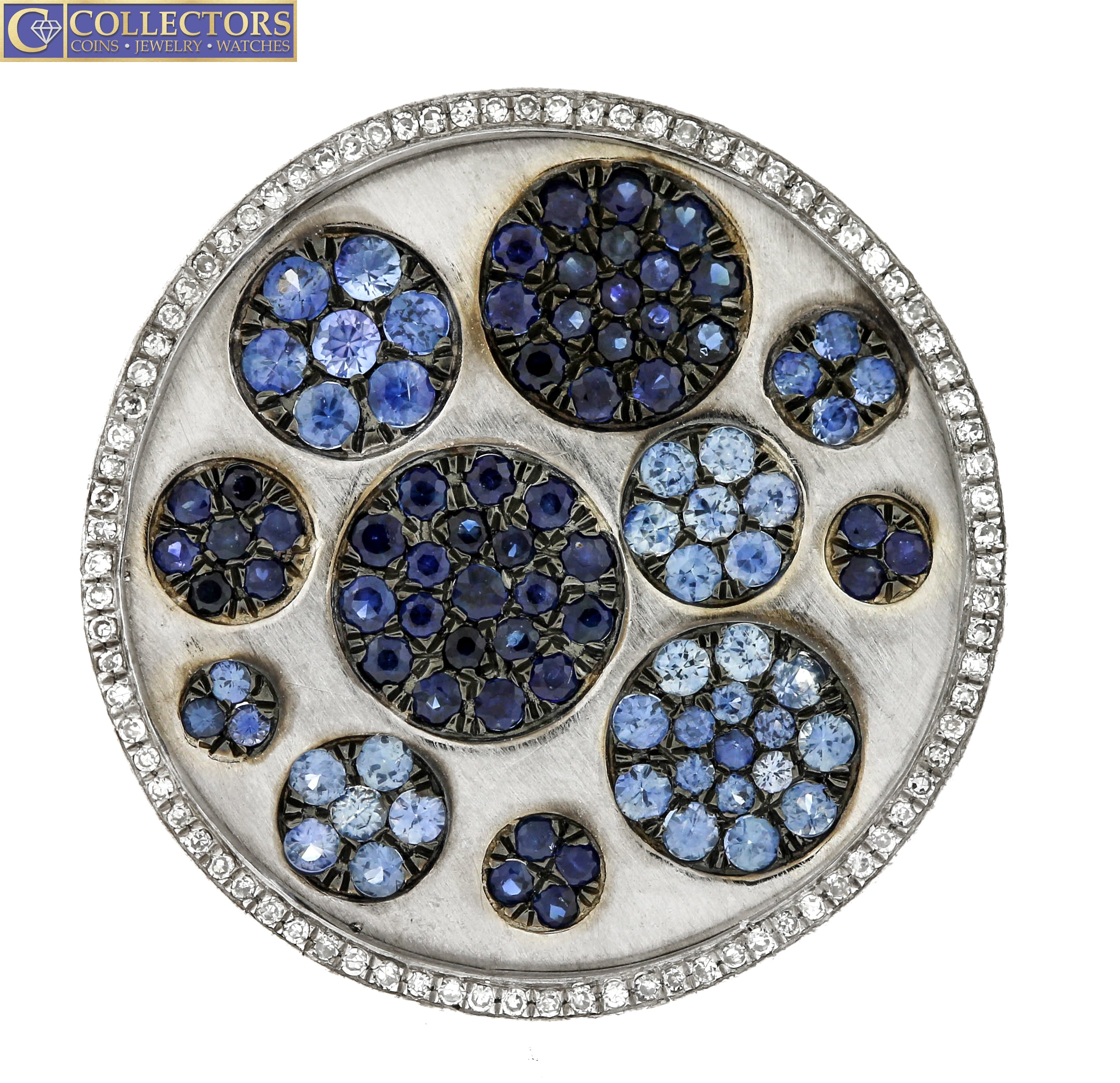 Ladies 14K 585 White Gold 0.43ctw Blue Sapphire Diamond Ornate Cocktail Ring