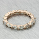 Modern 14k Rose Gold 1.24ctw Marquise Diamond Eternity Wedding Band Ring