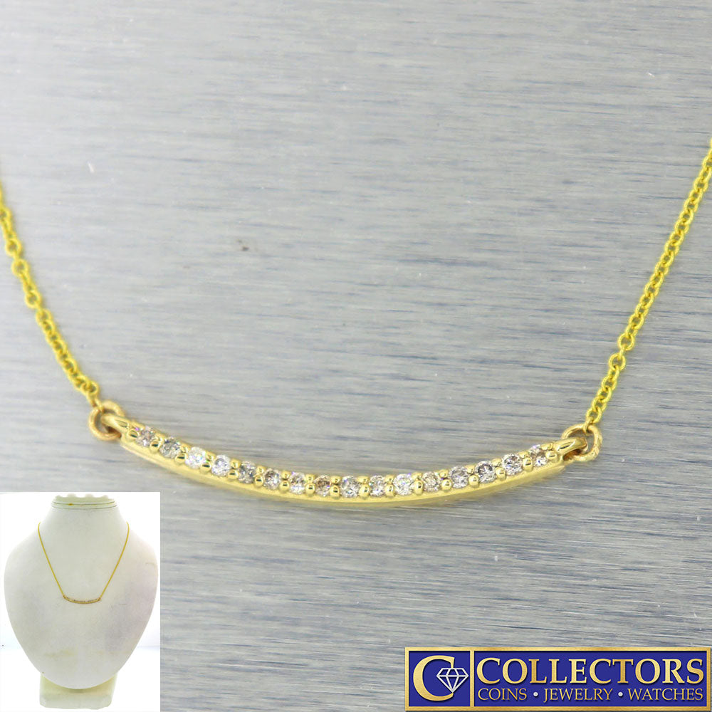 Modern Estate 14k Yellow Gold .20ctw I/SI1 Diamond Bar Chain Necklace G8